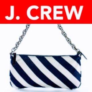 J. CREW SILK STRIPED CHAIN SHOULDER BAG